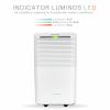 Dezumidificator Turbionaire EPI 12, 12 l/24h, Finisaj ABS Mat, Higrostat incorporat, Garantie 3 ani, Control digital tactil, Indicator luminos umiditate, Rezervor 2l, 120 m³/h, Timer, Display LED