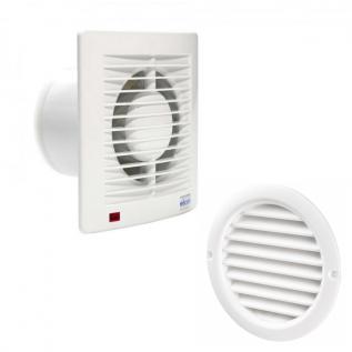 Pachet Promo: Ventilator casnic ELICENT E-style 100 + Grila circulara de exterior incastrata pentru racorduri cu diametrul D=100mm
