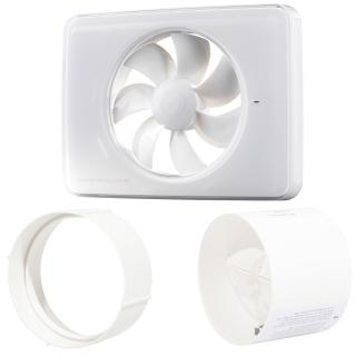 Pachet Promo: Ventilator FRESH Intellivent 2.0 alb + Clapeta antiretur D=100mm + Conector D=100mm, Fabricatie Suedia