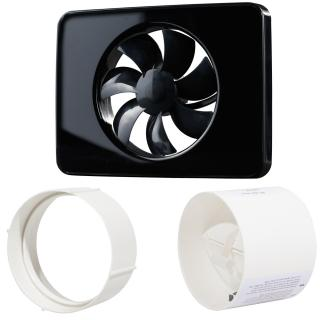 Pachet Promo: Ventilator FRESH Intellivent 2.0 negru + Clapeta antiretur D=125mm + Conector D=125mm, Fabricatie Suedia