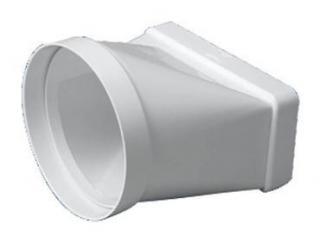 Trecere din PVC de la rectangular la circular Falmec 70x150 mm/ D=125 mm