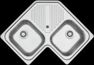 Chiuveta BARAZZA B_FAST 1LFS82A 83x83 cm de colt cu 2 cuve si picurator