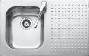 Chiuveta BARAZZA Select 1IS8060/1S 79x50 cm cu 1 cuva si suprafata suport pe partea stanga, Fabricatie Italia