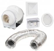 Pachet Promo: Ventilator ELICENT AXM 100 + Regulator de viteza Elicent R10 + Tubulatura flexibila D=100 mm + Anemostat PVC rectangular D=100mm  + Grila circulara de exterior incastrata D=100mm